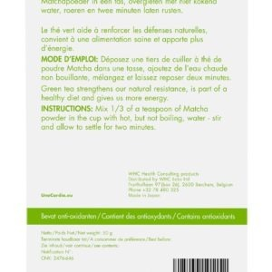 Care by Nature UnoCardio 1000 Achterzijde verpakking Matcha Green Tea