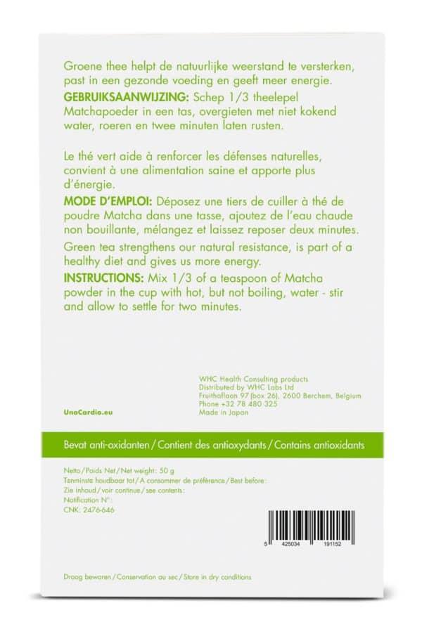 Care by Nature UnoCardio 1000 Achterzijde verpakking Matcha Green Tea