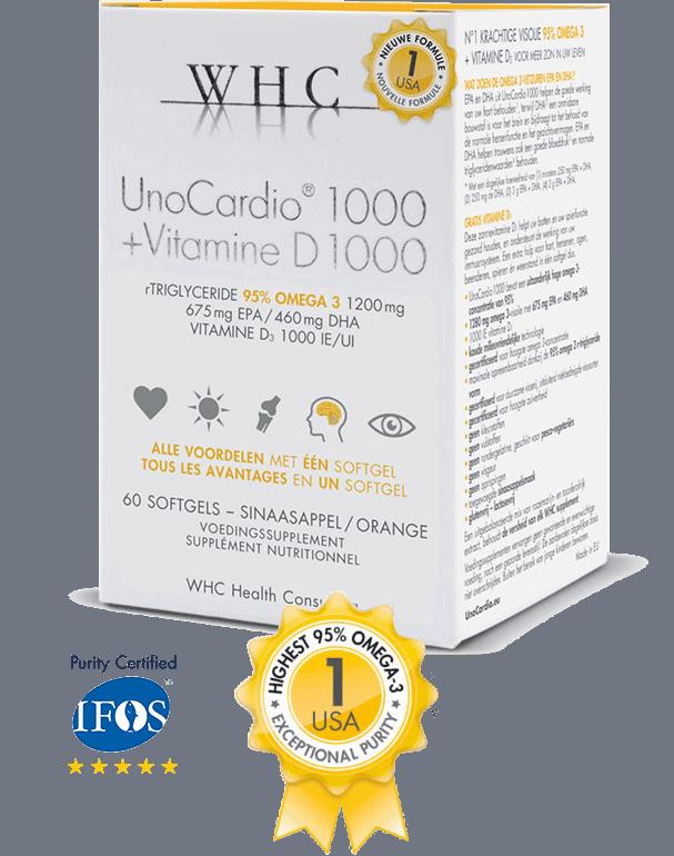 UnoCardio 1000 Pure omega-3 in hoge dosis met 1000 IE Vitamine D